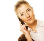 Mujer de negocios con un teléfono Fotografía de archivo