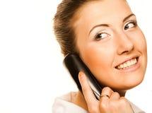 Mujer de negocios con un teléfono Imagenes de archivo