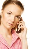 Mujer de negocios con un teléfono Imagen de archivo libre de regalías
