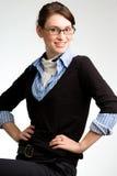 Mujer de negocios confidente, o presentación adolescente Imagenes de archivo