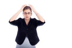 Mujer de negocios dada una sacudida eléctrica Imágenes de archivo libres de regalías