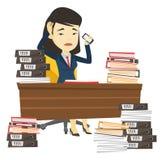 Mujer de negocios de la desesperación que trabaja en oficina stock de ilustración