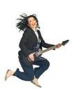 Mujer de negocios de la energía con la guitarra Imagenes de archivo