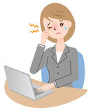 Mujer de negocios de la fatiga visual Imágenes de archivo libres de regalías