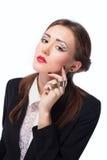Mujer de negocios de moda con maquillaje de la tarde Fotos de archivo