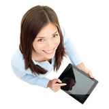 Mujer de negocios de ordenador de la tablilla imágenes de archivo libres de regalías