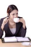 Mujer de negocios de pensamiento Imagenes de archivo