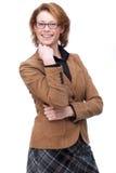 Mujer de negocios de pensamiento feliz fotos de archivo