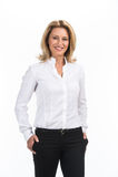 Mujer de negocios de risa en la camisa blanca Fotografía de archivo libre de regalías
