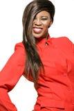 Mujer de negocios del African-american en chaqueta roja. Imagen de archivo libre de regalías