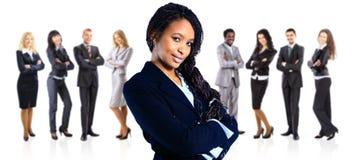 Mujer de negocios del afroamericano sobre blanco foto de archivo