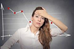 Mujer de negocios deprimida que parece subrayada Imagenes de archivo
