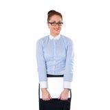 Mujer de negocios elegante joven con el ordenador portátil Imagen de archivo libre de regalías