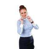 Mujer de negocios elegante joven con el vidrio Imágenes de archivo libres de regalías