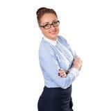 Mujer de negocios elegante joven con el vidrio Imagenes de archivo