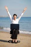 Mujer de negocios emocionada Imagen de archivo libre de regalías