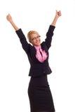 Mujer de negocios emocionada dando los pulgares para arriba. Imágenes de archivo libres de regalías