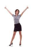 Mujer de negocios emocionada dando los pulgares para arriba Fotografía de archivo libre de regalías