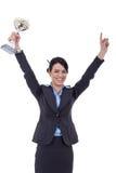 Mujer de negocios emocionada que gana un trofeo fotos de archivo libres de regalías