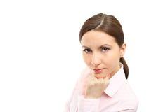 Mujer de negocios en blanco Fotografía de archivo libre de regalías
