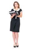 Mujer de negocios en blanco imagen de archivo