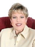 Mujer de negocios en del amarillento cierre para arriba imágenes de archivo libres de regalías
