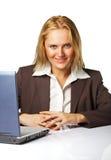 Mujer de negocios en el trabajo Fotos de archivo