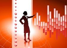 Mujer de negocios en fondo con las cartas financieras Imagen de archivo