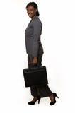 Mujer de negocios en juego de bragas gris Foto de archivo