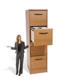 Mujer de negocios en la cabina de fichero Foto de archivo