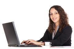 Mujer de negocios en la computadora portátil Imagen de archivo