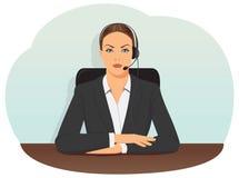 Mujer de negocios en receptor de cabeza Fotografía de archivo libre de regalías