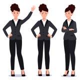 Mujer de negocios en sistema del traje emociones actitudes Fotografía de archivo