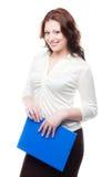 Mujer de negocios en una blusa y una falda blancas Imagen de archivo