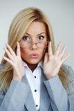 Mujer de negocios en vidrios Imagen de archivo