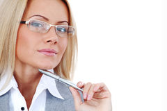 Mujer de negocios en vidrios Imagenes de archivo