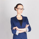 Mujer de negocios en vidrios Fotos de archivo libres de regalías