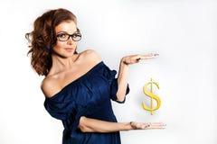 Mujer de negocios en vidrios Imágenes de archivo libres de regalías