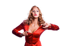 Mujer de negocios encantadora en chaqueta roja Fotos de archivo libres de regalías