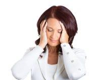 Mujer de negocios envejecida centro subrayada infeliz Fotografía de archivo