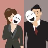 Mujer de negocios falsa que lleva a cabo una máscara de la sonrisa Foto de archivo