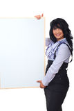 Mujer de negocios feliz con la bandera Imagen de archivo