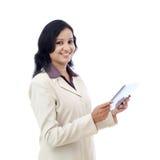 Mujer de negocios feliz con la tableta Imagenes de archivo