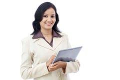 Mujer de negocios feliz con la tableta Fotografía de archivo
