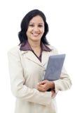 Mujer de negocios feliz con la tableta Fotos de archivo
