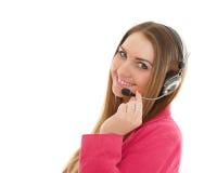 Mujer de negocios feliz con las auriculares. Fotografía de archivo libre de regalías