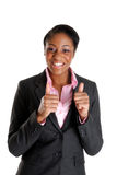 Mujer de negocios feliz con los pulgares para arriba imágenes de archivo libres de regalías