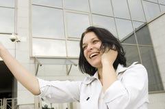 Mujer de negocios feliz del retrato Imagenes de archivo