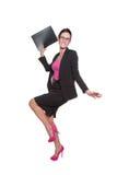 Mujer de negocios feliz en blusa rosada Foto de archivo