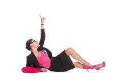 Mujer de negocios feliz en blusa rosada Fotografía de archivo libre de regalías